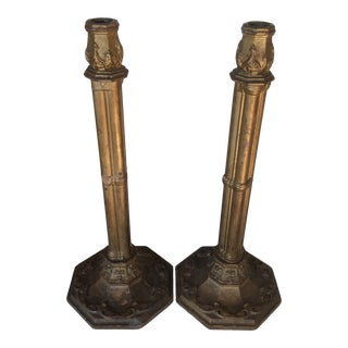 Antique Gold Gilt Wooden Italian Candle Sticks- a Pair For Sale