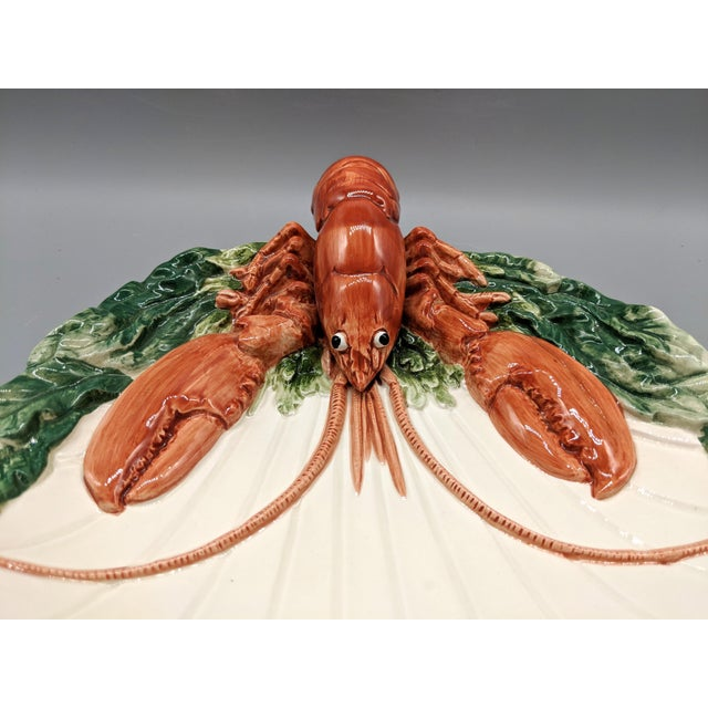 1990s Late 20th Century Fitz and Floyd Trompe l'Oeil Lobster Seafood Plates - a Pair For Sale - Image 5 of 11