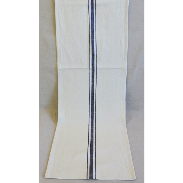 "French Country Farmhouse White & Blue Striped Table Runner 110"" Long For Sale - Image 4 of 8"