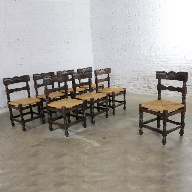 Spanish Colonial Style Dining Chairs With Rush Seats Stamped Hecho en Mexico For Sale - Image 4 of 13
