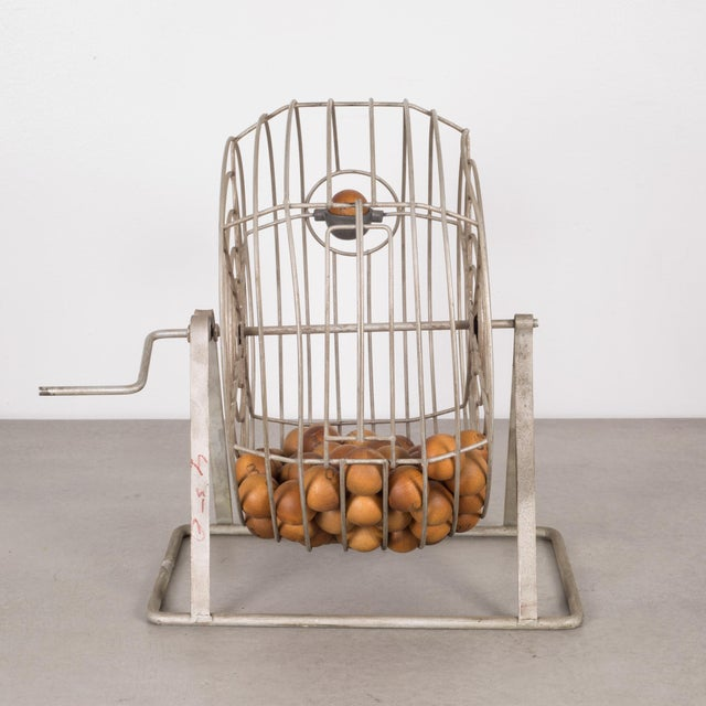 Antique Bingo Cage C. 1940 For Sale - Image 4 of 6