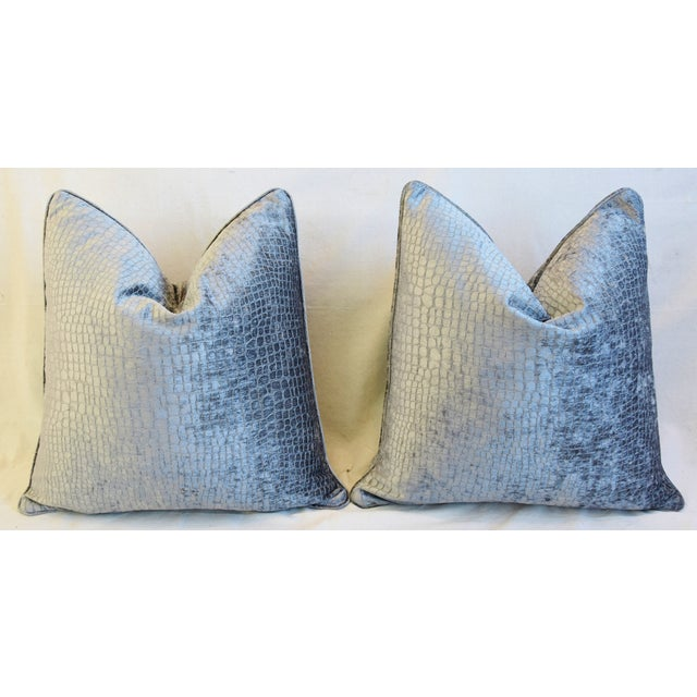 """Gray/Silver Crocodile Alligator Textured Feather/Down Velvet Pillows 23"""" Square - Pair For Sale In Los Angeles - Image 6 of 12"""