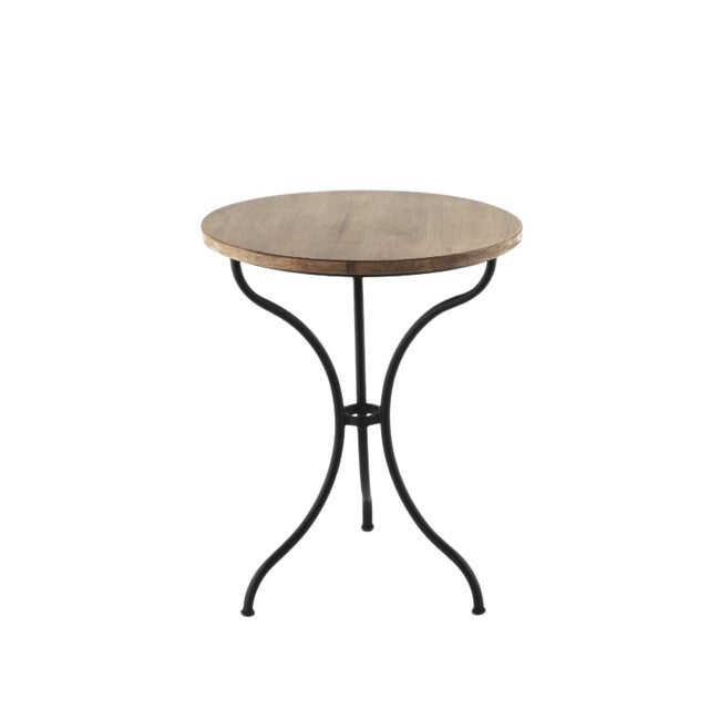 New Round Bistro Table With Wood Top & Iron Base For Sale