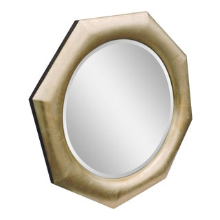 Large Gold Leaf Octagonal Vintage Retro Beveled Mid Century Wall Bathroom Vanity Entryway Mirror For Sale