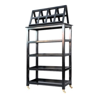 Ebonized Four-Tier Étagère With Folding Lectern / Book Display Stand For Sale