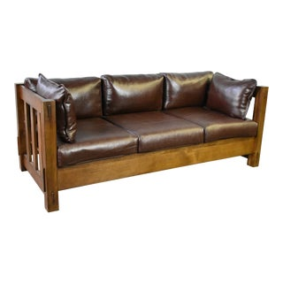 Crafters and Weavers Heartland Mission Slat Sofa Solid Oak and Leather For Sale