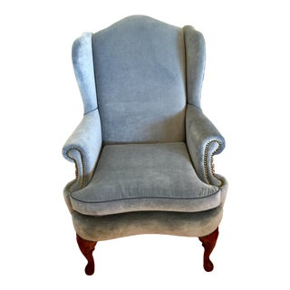 1990s Vintage Laura Kirar Fabric Combo Kindel Wing Chair For Sale