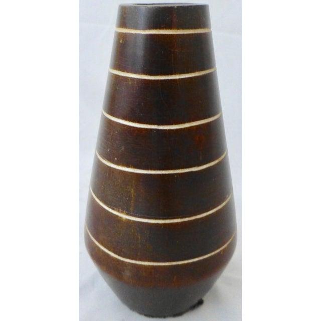 1950's Tiki Hawaiian Style Wooden Vase For Sale - Image 10 of 13