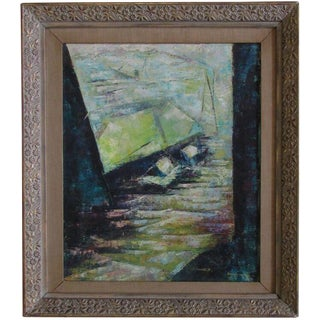 1956 Vintage Brooklyn Dock Modernist Abstract Oil Painting For Sale