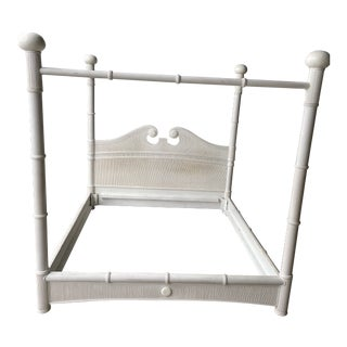 1980s Hollywood Regency Bamboo Pencil Reed King Poster Bed For Sale