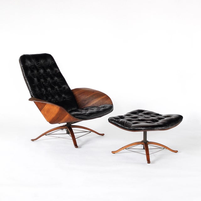 Mid-Century Modern 1960s Vintage 1st Edition Mr Chair by George Mulhauser for Plycraft Leather Lounge Chair For Sale - Image 3 of 12