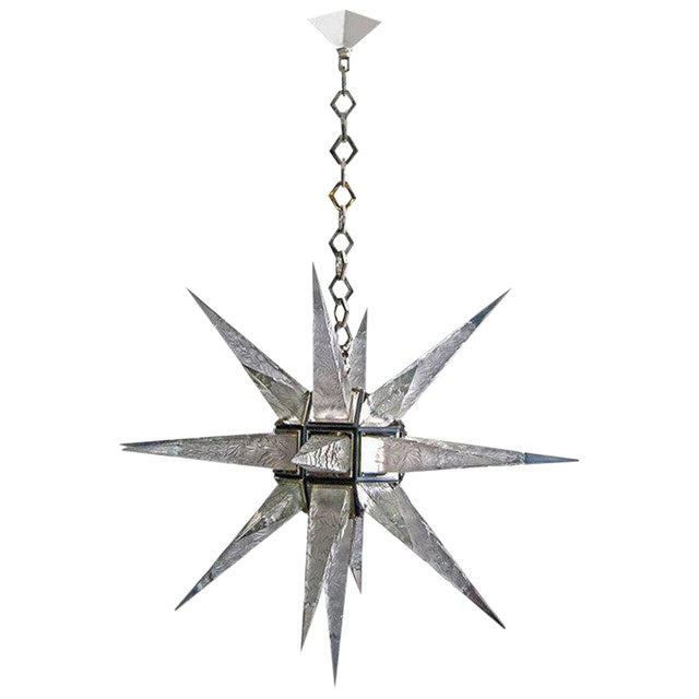 Large C.J. Weinstein Style Art Deco Star Chandelier - Image 1 of 5