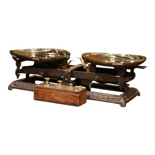 19th Century French Polished Iron Scale With Set of Weights in Walnut Casing For Sale