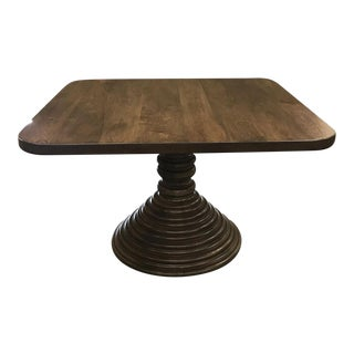 Custom Walnut Square Top Pedestal Table For Sale
