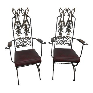 Vintage Mid-Century Modecraft Ornamental Cast Iron Arm Chairs - a Pair For Sale