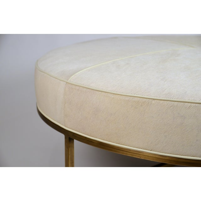 White Hide and Patinated Brass 'Tambour' Ottoman by Design Frères For Sale In Los Angeles - Image 6 of 9