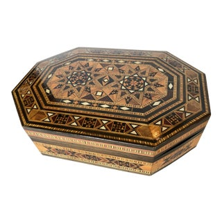 Late 20th C. Syrian Walnut Wood Box Inlaid With Mother of Pearl For Sale