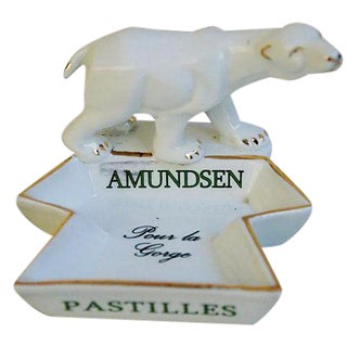 French Porcelain Amundsen Match Striker Ashtray