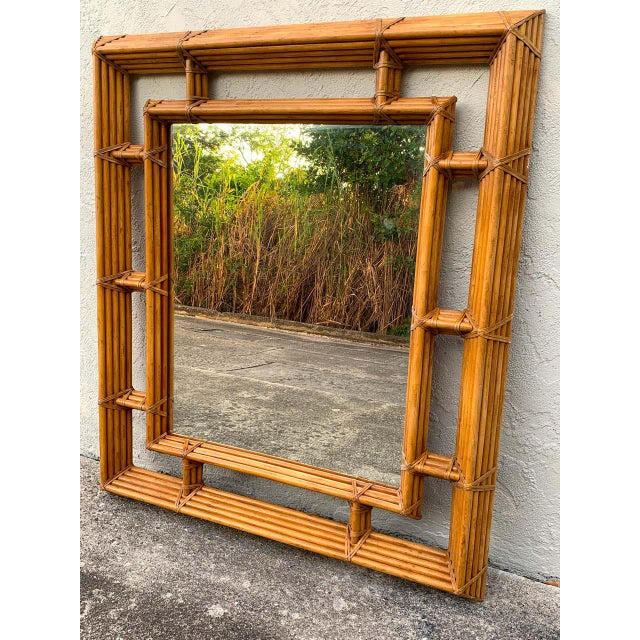 Mid 20th Century Large Bamboo & Willow Architectural Mirror, by Henredon For Sale - Image 5 of 7