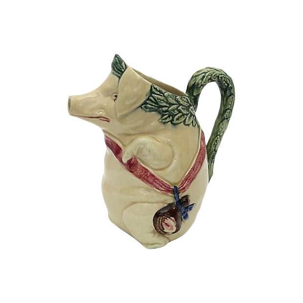 Antique Majolica Satyrical Pig W/ Ham Jug For Sale