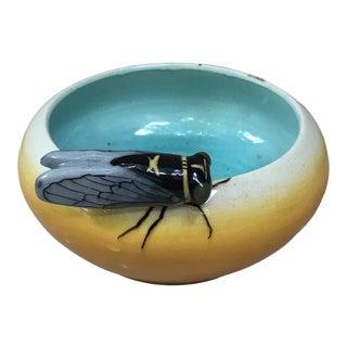 Majolica Vide Poches With Cicada Jerome Massier Fils, Circa 1920 For Sale
