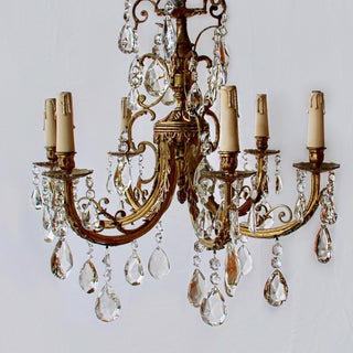 Antique French Empire Six Arm Doré-Bronze and Crystal Chandelier Preview