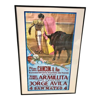 Authentic Silkscreened Mexican Bullfighting Poster For Sale