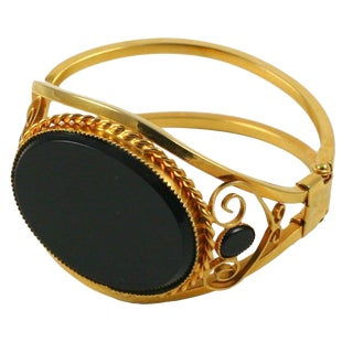 Goldtone Cuff Bracelet With Large Black Stone For Sale