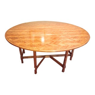 Vintage Century Round Oak Dining Table For Sale
