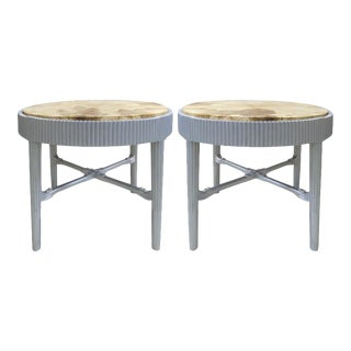 French Art Deco Lacquered Tables with Parchment Tops by Albert Rateau, Pair