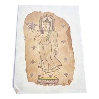Buddha on Lotus Pedestal Printed on Handmade Paper For Sale