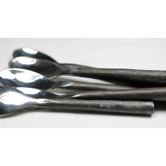 Burnished Rustic Flatware Espresso Spoons - Set of 6 (New) For Sale - Image 4 of 9
