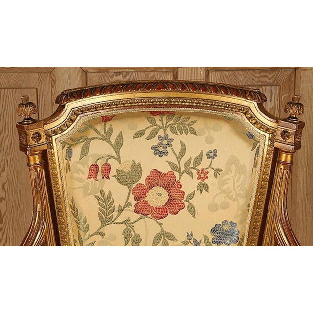 French Gilt Wood Louis XVI Style Settee & Arm Chairs - Set of 5 For Sale - Image 10 of 13