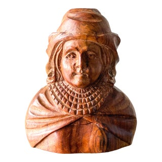 Mid-Century Solid Wood Carving of Renaissance Man Bust For Sale