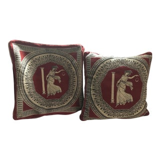 Custom Vienna Red & Gold Neoclassical Pillow Covers - A Pair For Sale