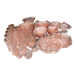 1930s Federal Madrid Pink Depression Glass Serving Set of 80 For Sale