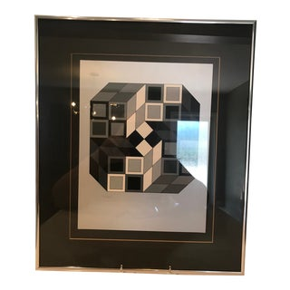 "Victor Vasarely Op Art Print, Entitled ""Axo Gris"" Signed and Numbered (#45 Out of 250), Vintage Mid-Century Modern, With Coa From Park West Galleries For Sale"