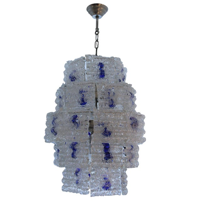 Mazzega Steel and Glass Chandelier For Sale - Image 6 of 6