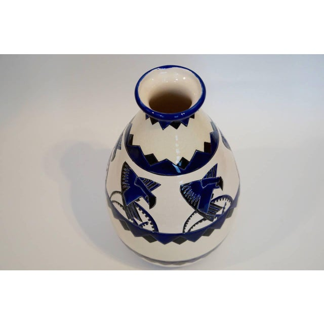 """Very rare vase with """"stylized birds / magpies"""" by Charles Catteau for Boch Freres Keramis D.1366 / form 118 """"autographe""""..."""