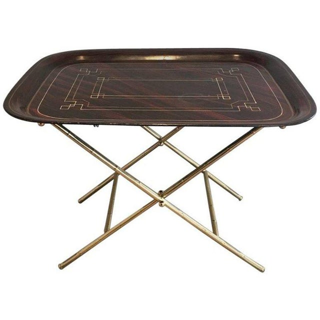 French Brass Tray Table with a Lacquer and Gold Metal Top - Image 11 of 11