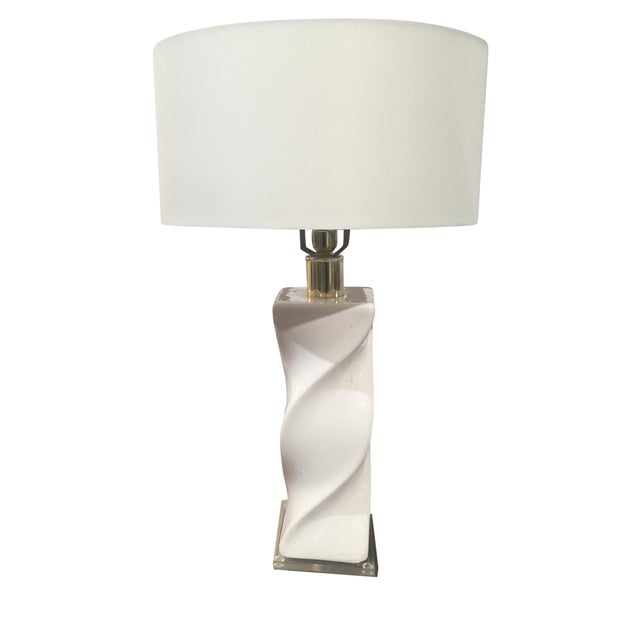 Mid-Century White Swirl Lamp With Lucite Base - Image 1 of 4