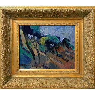 Jose Trujillo Signed Canvas Modern Hillside Trees Oil Painting Framed Modernist For Sale