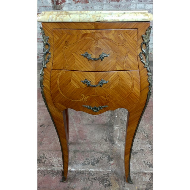 Brown French 19th Century Marquetry Petit Commodes- a Pair For Sale - Image 8 of 10