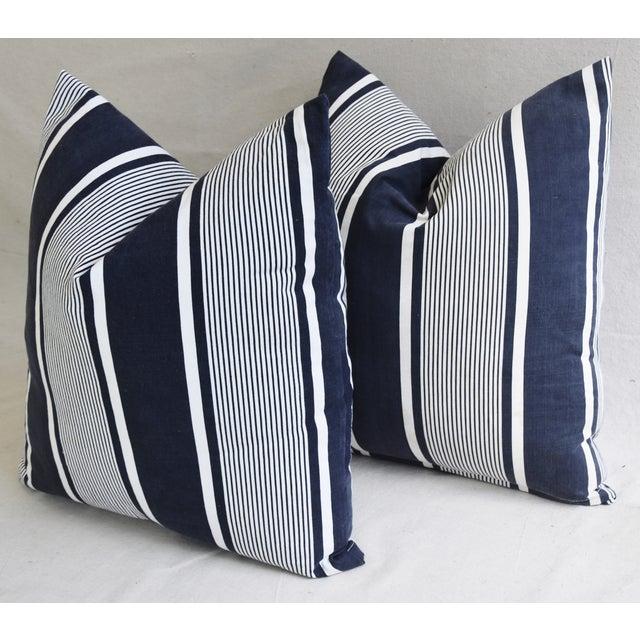 """Custom French Stripe Ticking Fabric Feather & Down Pillows 22"""" X 21"""" - a Pair - Image 8 of 11"""