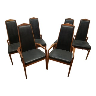Foster McDavid Wood & Black Vinyl Dining Chairs - Set of 6