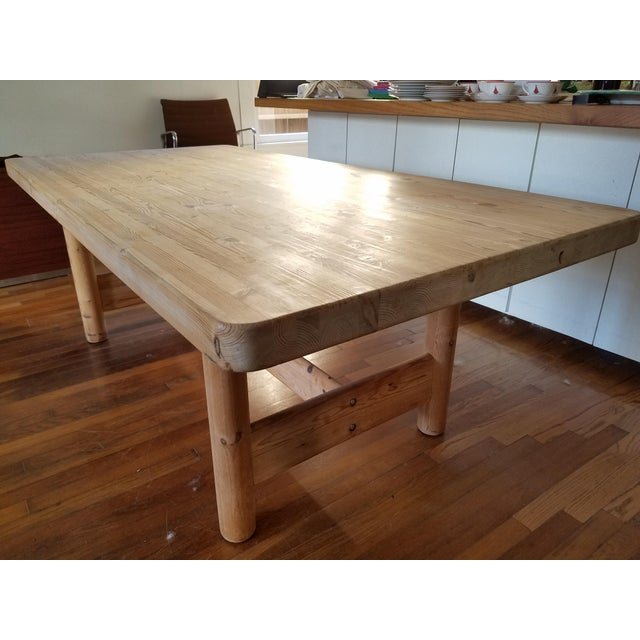 Substantial Solid Scandinavian Pine Butcher Block Dining Table For Sale - Image 4 of 13