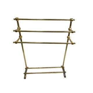 Vintage Brass Pedestal Towel Stand For Sale