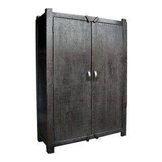 Custom Large Primitive Modern Armoire/Cabinet/Wardrobe in Ebony Finish For Sale