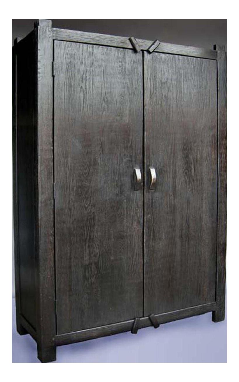 Custom Large Primitive Modern Armoire/Cabinet/Wardrobe In Ebony Finish For  Sale