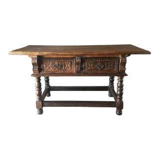 Antique Spanish Carved Two Drawer Console Table For Sale
